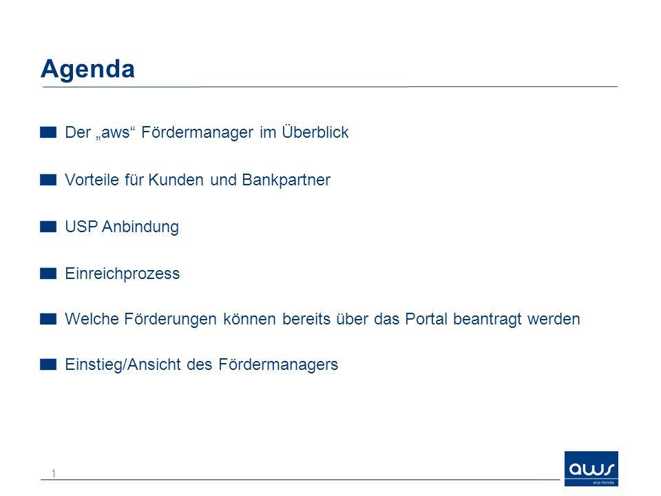 "Agenda Der ""aws Fördermanager im Überblick"