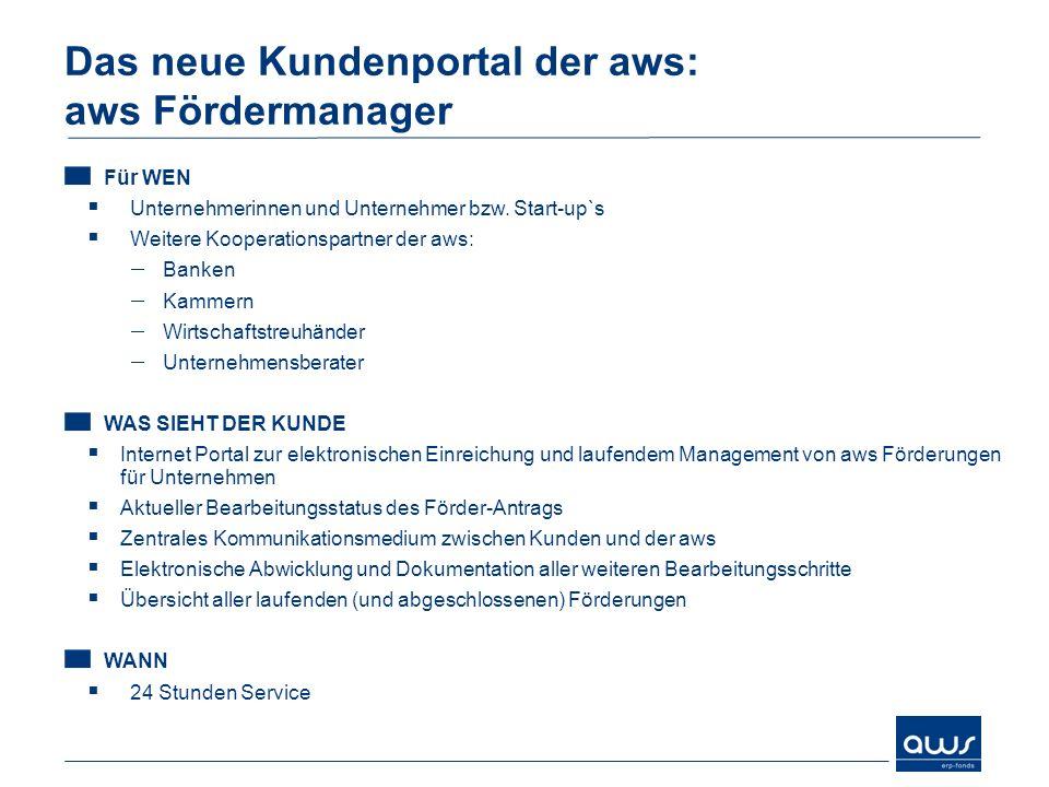 Das neue Kundenportal der aws: aws Fördermanager