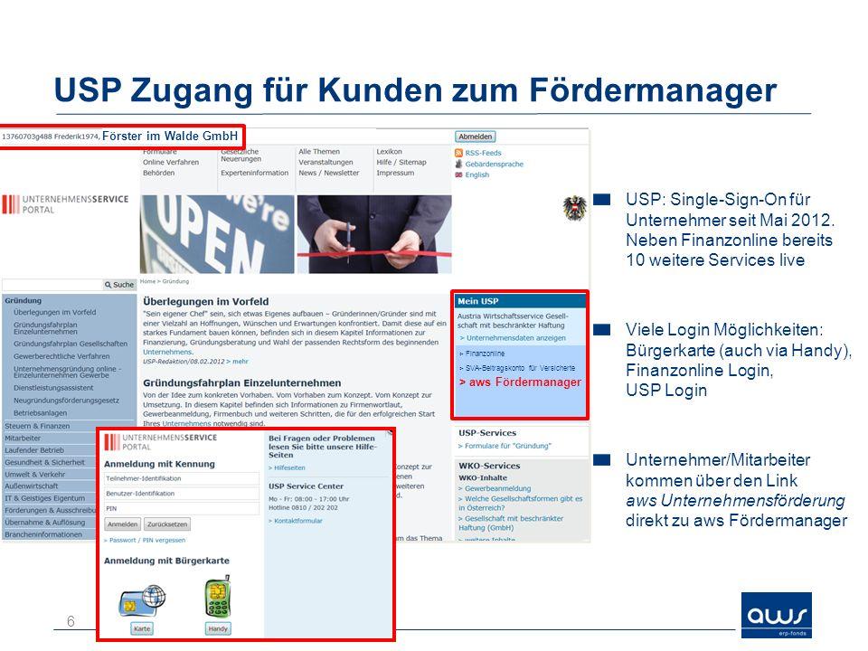 USP Zugang für Kunden zum Fördermanager
