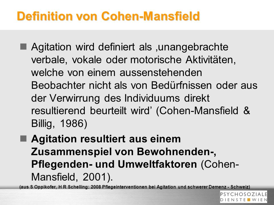 Definition von Cohen-Mansfield