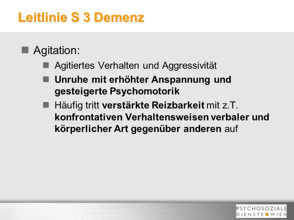 Leitlinie S 3 Demenz Agitation: Agitiertes Verhalten und Aggressivität