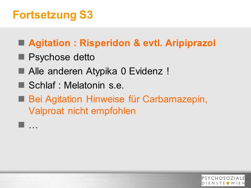 Fortsetzung S3 Agitation : Risperidon & evtl. Aripiprazol