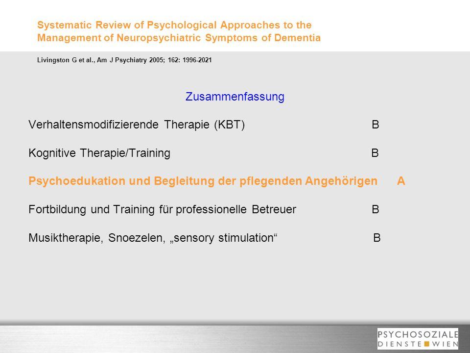 Verhaltensmodifizierende Therapie (KBT) B