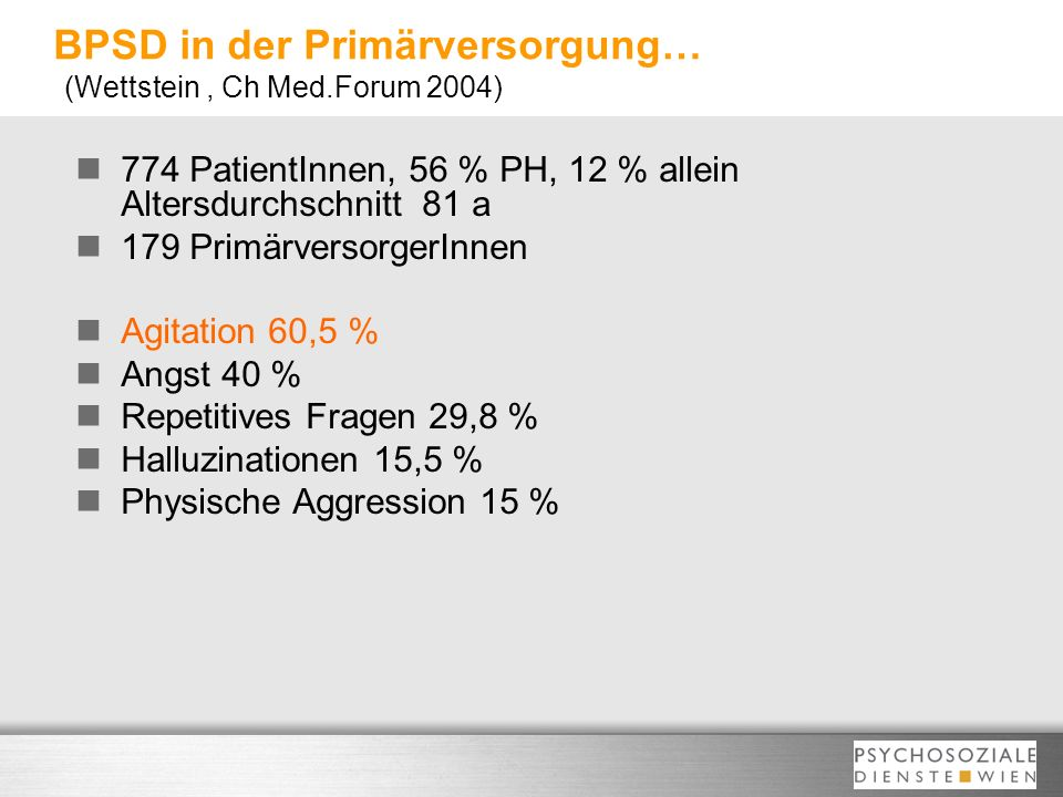 BPSD in der Primärversorgung… (Wettstein , Ch Med.Forum 2004)