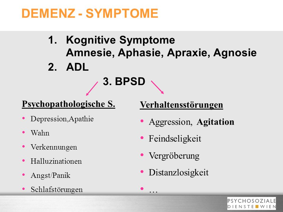 DEMENZ - SYMPTOME 1. Kognitive Symptome