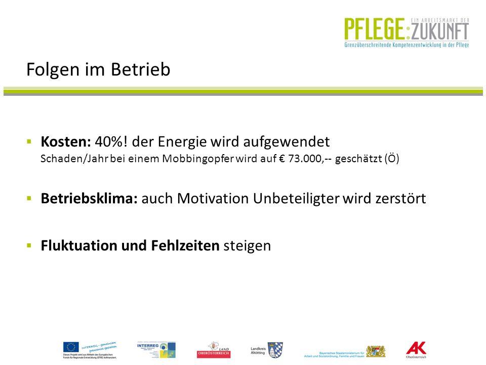 Folgen im Betrieb Kosten: 40%! der Energie wird aufgewendet Schaden/Jahr bei einem Mobbingopfer wird auf € 73.000,-- geschätzt (Ö)