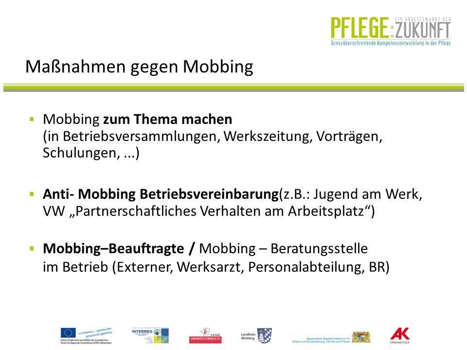 Maßnahmen gegen Mobbing