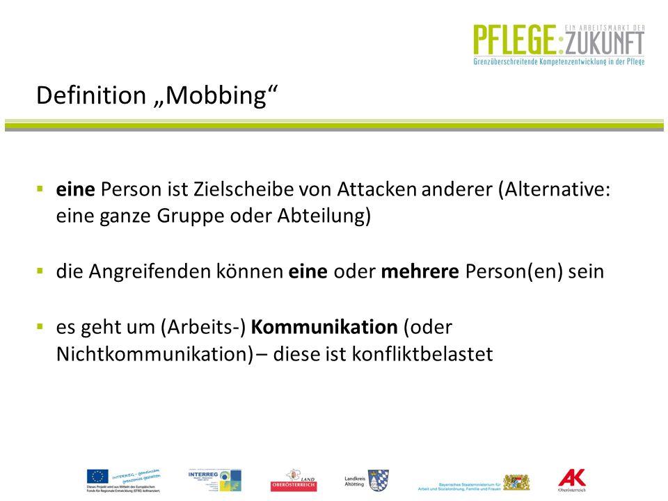 """Definition """"Mobbing eine Person ist Zielscheibe von Attacken anderer (Alternative: eine ganze Gruppe oder Abteilung)"""