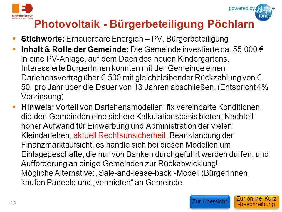 Photovoltaik - Bürgerbeteiligung Pöchlarn