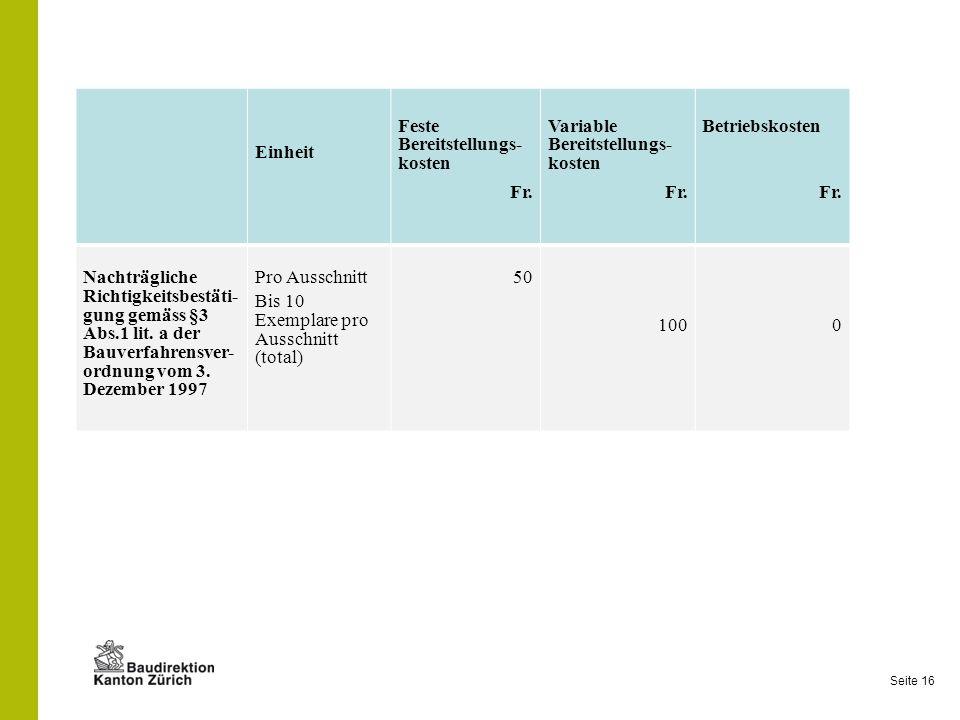 Einheit Feste Bereitstellungs- kosten. Fr. Variable Bereitstellungs- kosten. Betriebskosten.