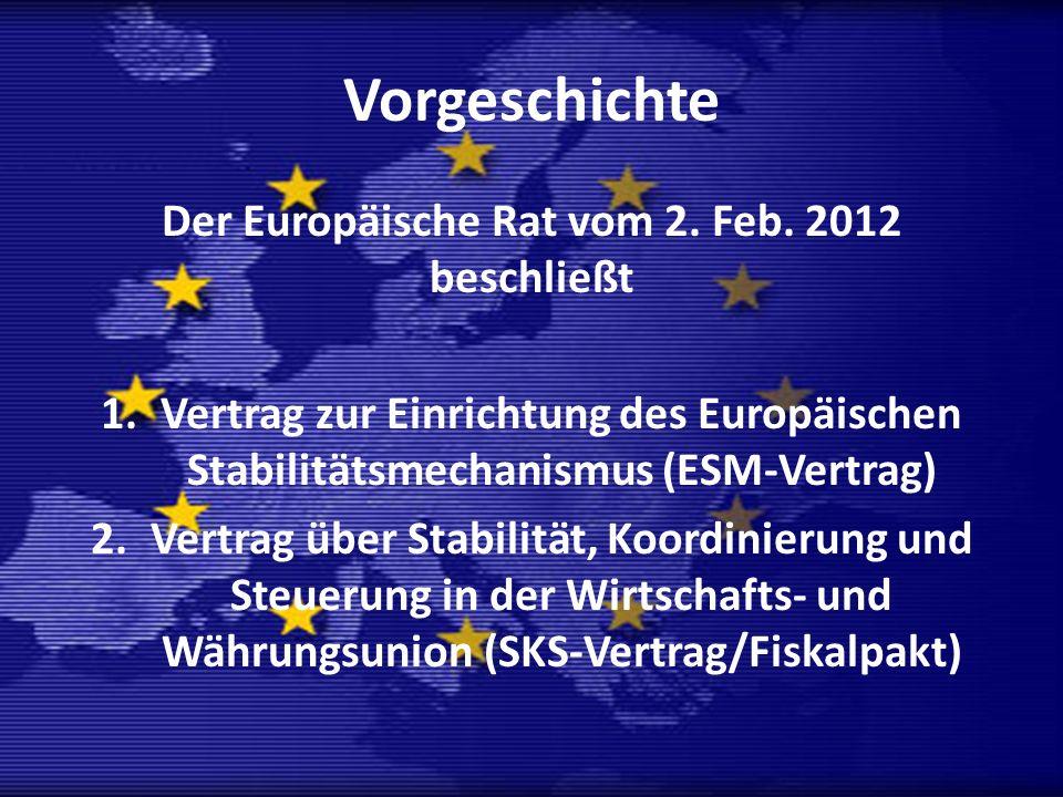 Der Europäische Rat vom 2. Feb. 2012 beschließt