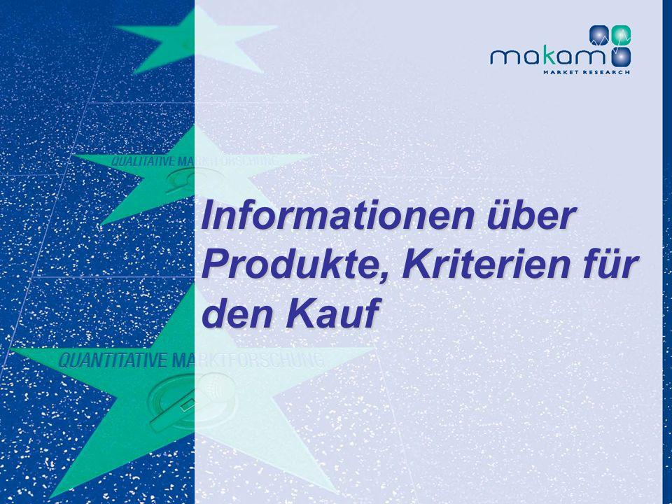 Informationen über Produkte, Kriterien für den Kauf