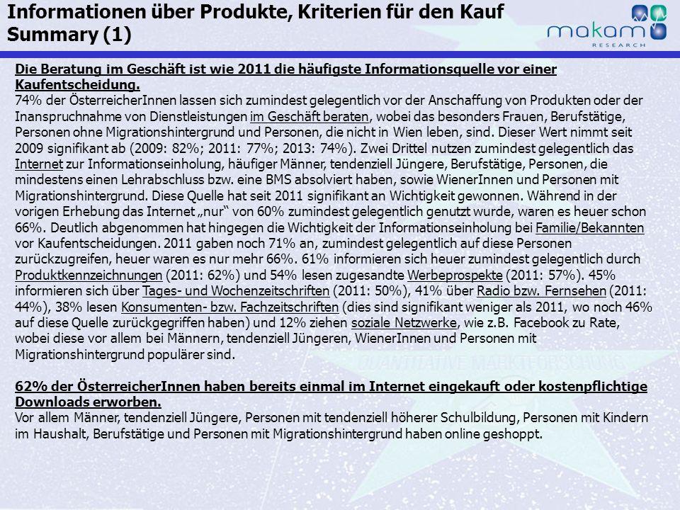 Informationen über Produkte, Kriterien für den Kauf Summary (1)
