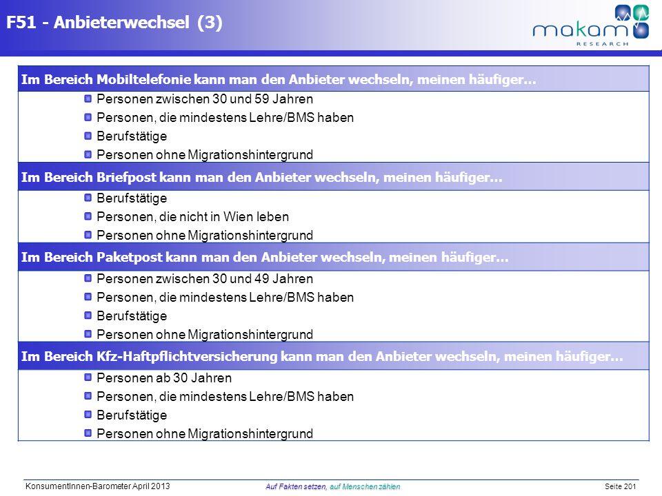 F51 - Anbieterwechsel (3) Im Bereich Mobiltelefonie kann man den Anbieter wechseln, meinen häufiger…