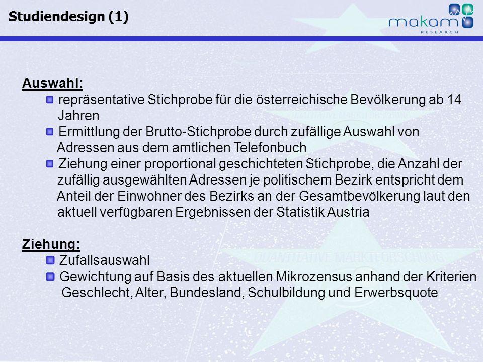 Studiendesign (1) Auswahl: repräsentative Stichprobe für die österreichische Bevölkerung ab 14 Jahren.