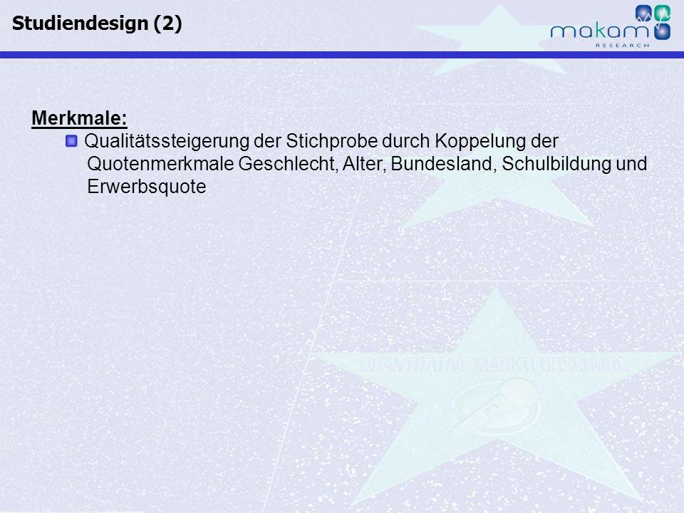 Studiendesign (2)Merkmale: Qualitätssteigerung der Stichprobe durch Koppelung der. Quotenmerkmale Geschlecht, Alter, Bundesland, Schulbildung und.