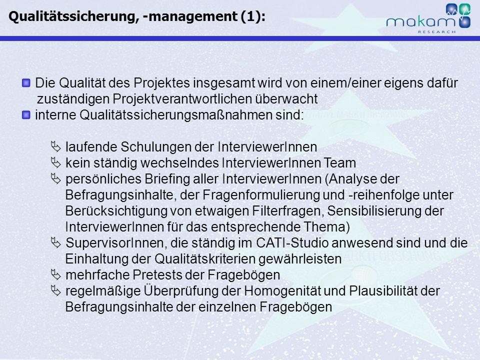 Qualitätssicherung, -management (1):