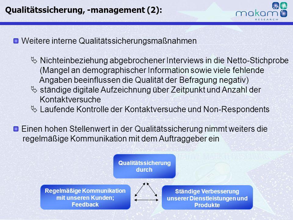 Qualitätssicherung, -management (2):
