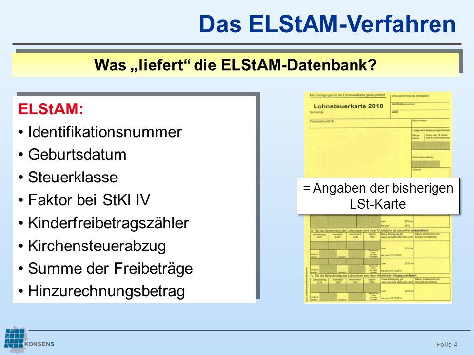 """Was """"liefert die ELStAM-Datenbank"""