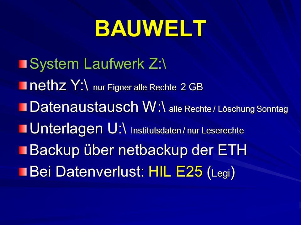 BAUWELT System Laufwerk Z:\ nethz Y:\ nur Eigner alle Rechte 2 GB