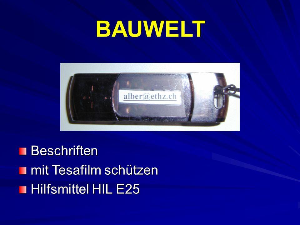 BAUWELT Beschriften mit Tesafilm schützen Hilfsmittel HIL E25