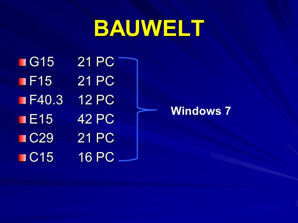 BAUWELT G15 21 PC F15 21 PC F40.3 12 PC E15 42 PC C29 21 PC C15 16 PC