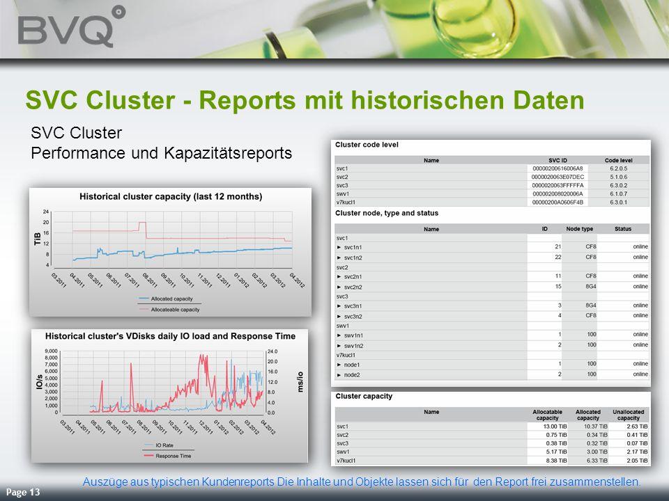 SVC Cluster - Reports mit historischen Daten