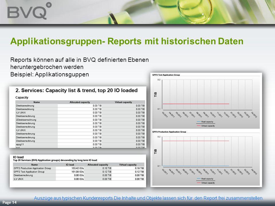 Applikationsgruppen- Reports mit historischen Daten