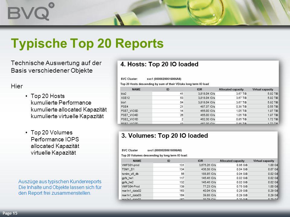 Typische Top 20 Reports Technische Auswertung auf der Basis verschiedener Objekte Hier.