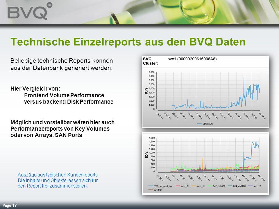 Technische Einzelreports aus den BVQ Daten