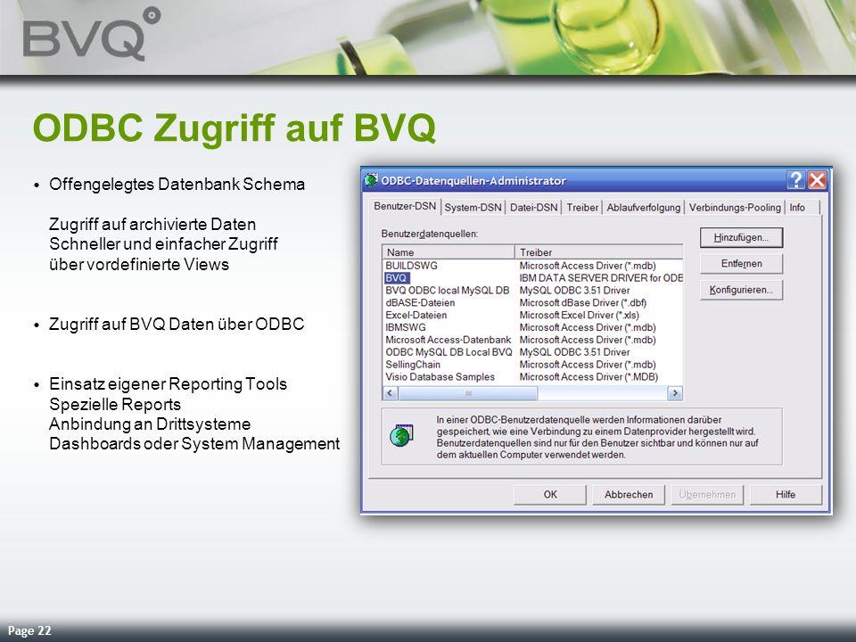 ODBC Zugriff auf BVQ Offengelegtes Datenbank Schema Zugriff auf archivierte Daten Schneller und einfacher Zugriff über vordefinierte Views.