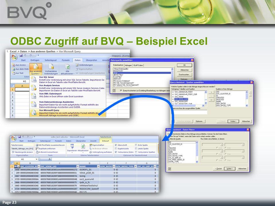 ODBC Zugriff auf BVQ – Beispiel Excel