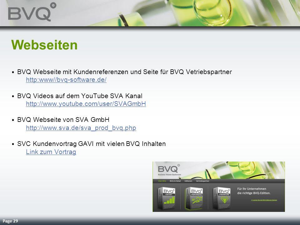 Webseiten BVQ Webseite mit Kundenreferenzen und Seite für BVQ Vetriebspartner http:www//bvq-software.de/