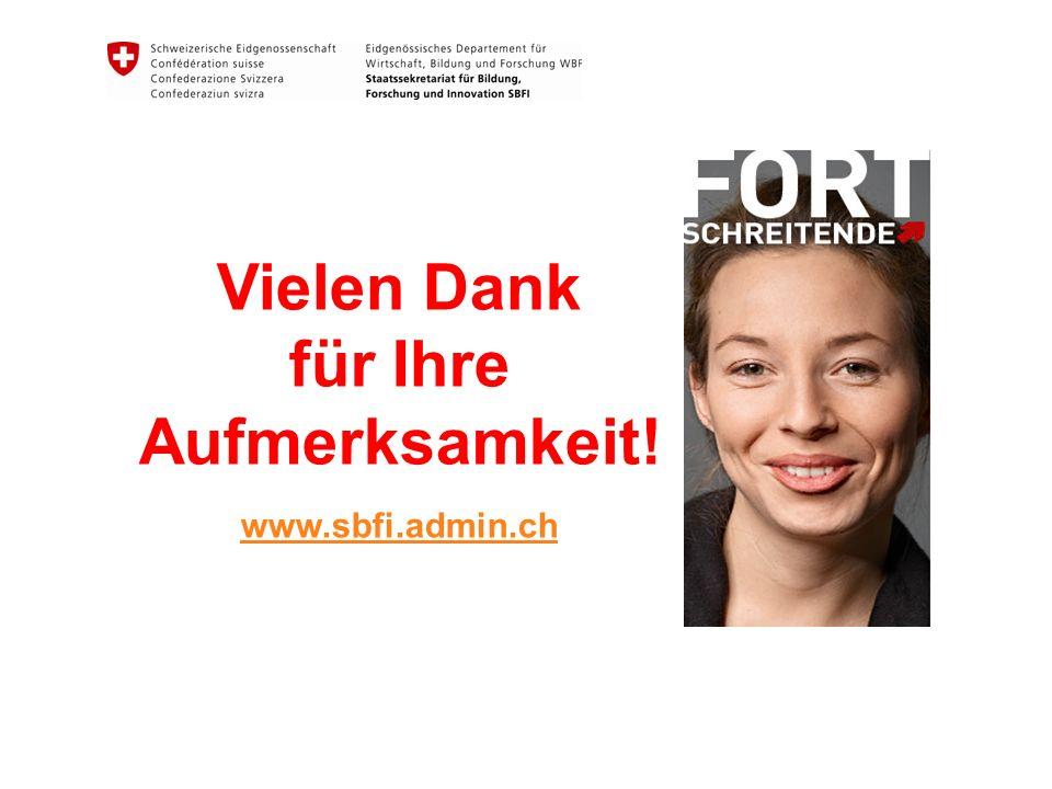 Vielen Dank für Ihre Aufmerksamkeit! www.sbfi.admin.ch
