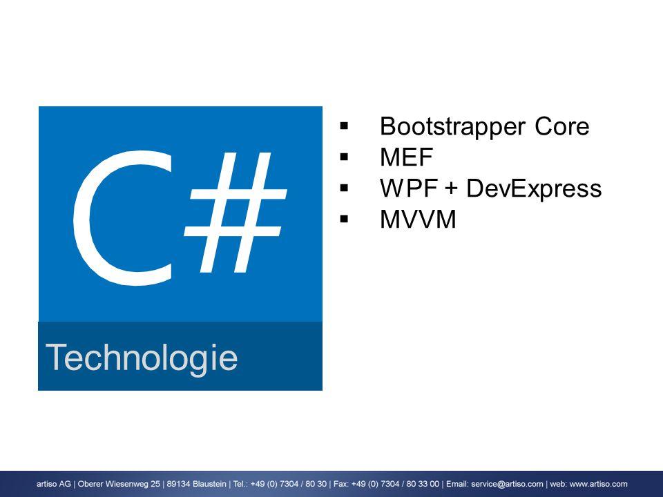 Technologie Bootstrapper Core MEF WPF + DevExpress MVVM