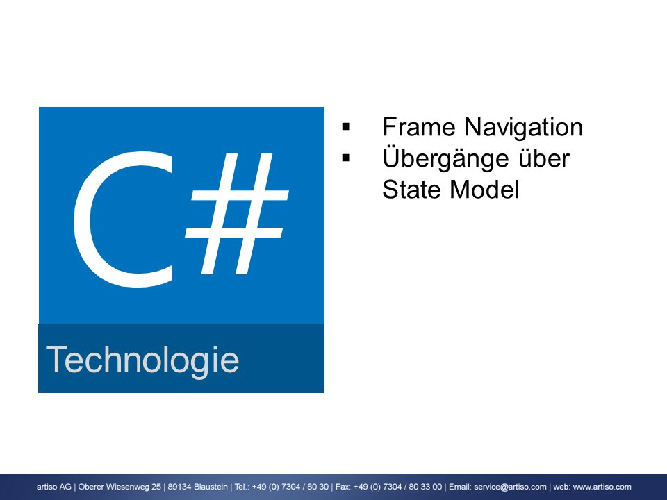 Technologie Frame Navigation Übergänge über State Model