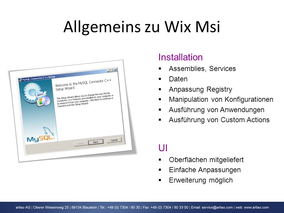 Allgemeins zu Wix Msi Installation UI Assemblies, Services Daten