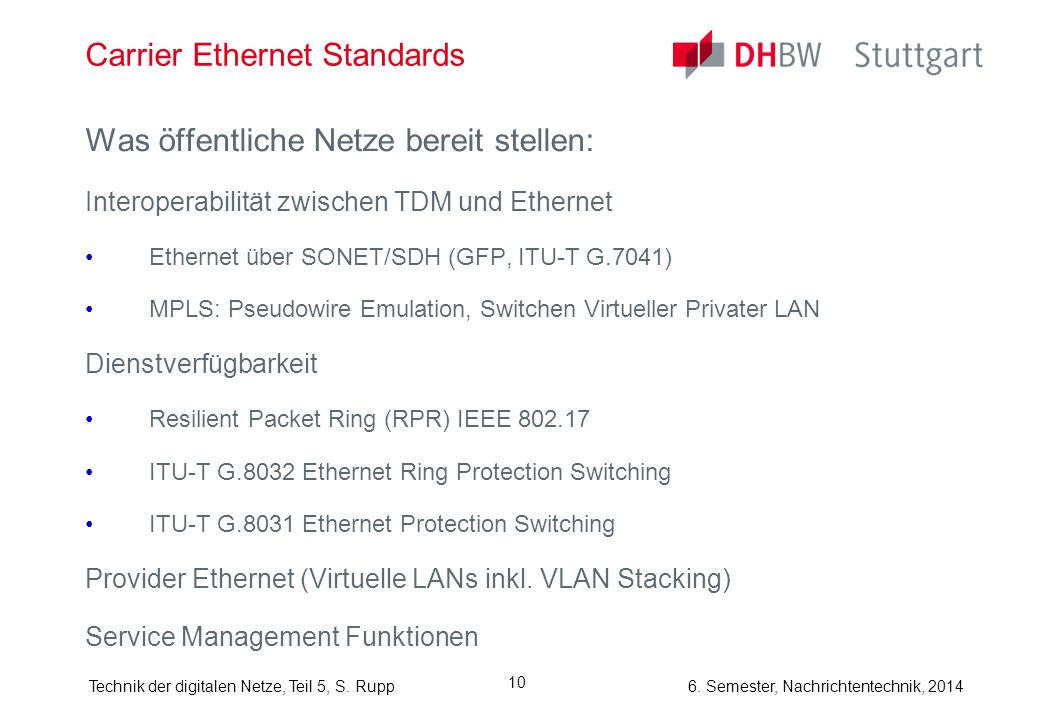 Carrier Ethernet Standards