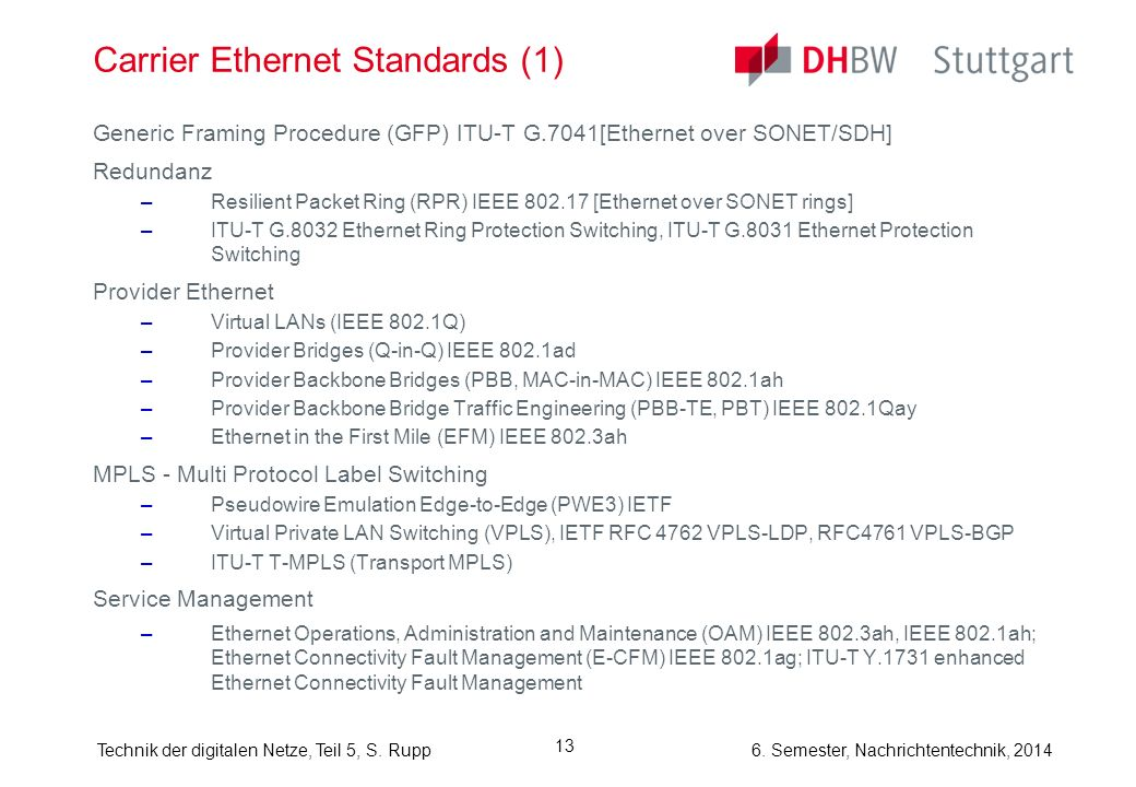 Carrier Ethernet Standards (1)