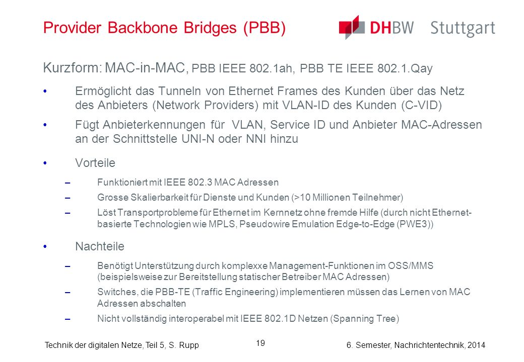 Provider Backbone Bridges (PBB)