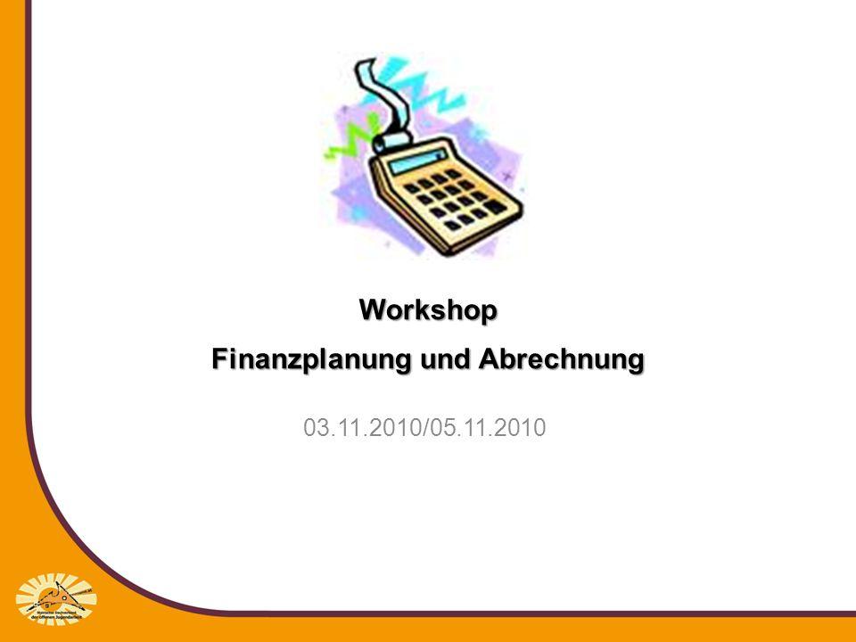 Workshop Finanzplanung und Abrechnung