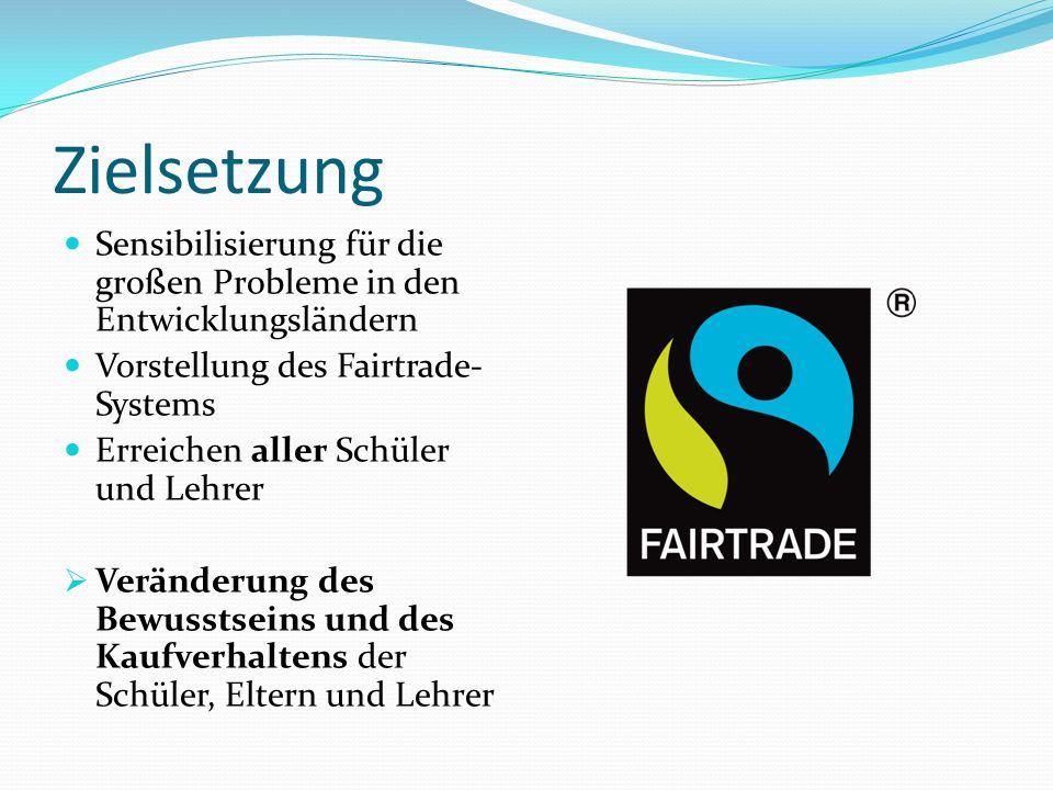 Zielsetzung Sensibilisierung für die großen Probleme in den Entwicklungsländern. Vorstellung des Fairtrade-Systems.