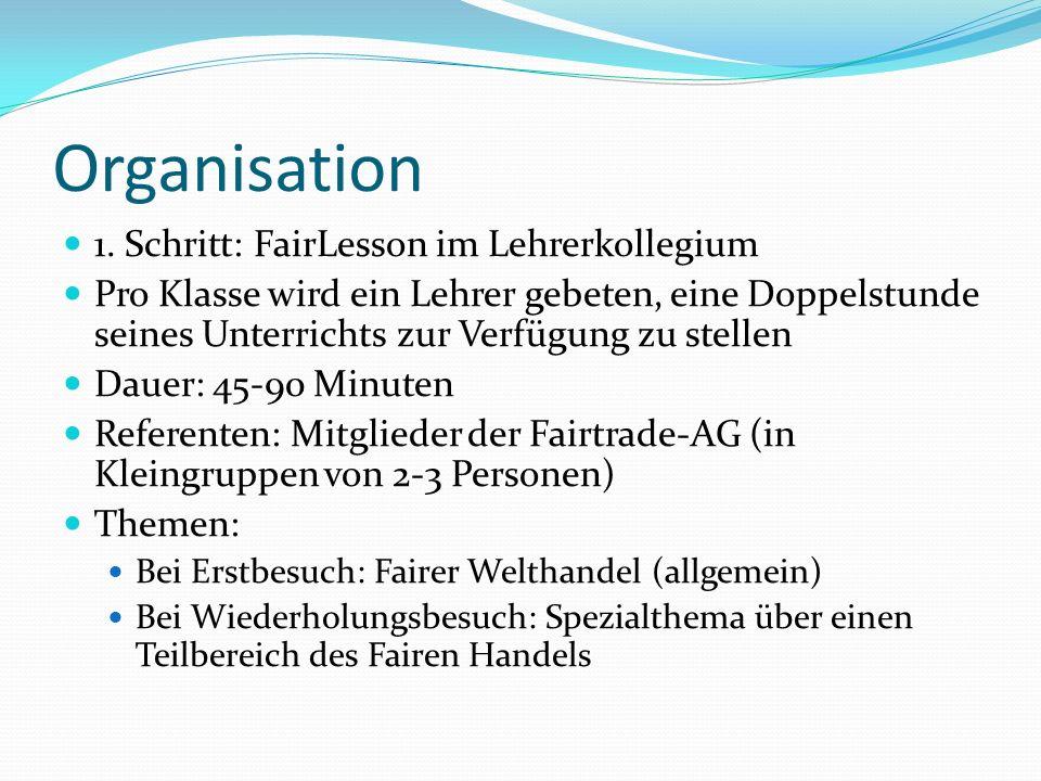 Organisation 1. Schritt: FairLesson im Lehrerkollegium