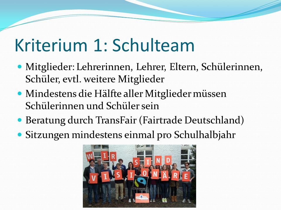 Kriterium 1: Schulteam Mitglieder: Lehrerinnen, Lehrer, Eltern, Schülerinnen, Schüler, evtl. weitere Mitglieder.
