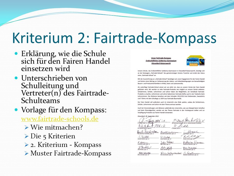 Kriterium 2: Fairtrade-Kompass
