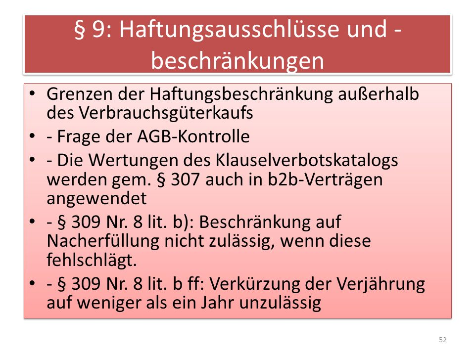 § 9: Haftungsausschlüsse und -beschränkungen