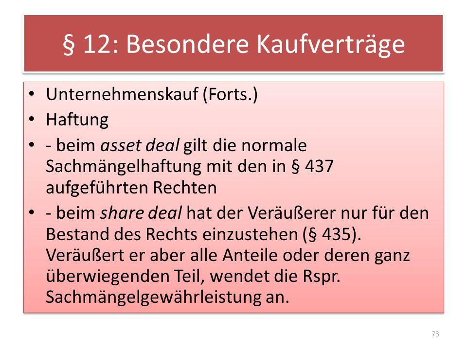§ 12: Besondere Kaufverträge