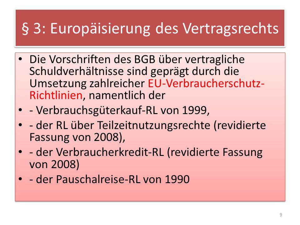 § 3: Europäisierung des Vertragsrechts