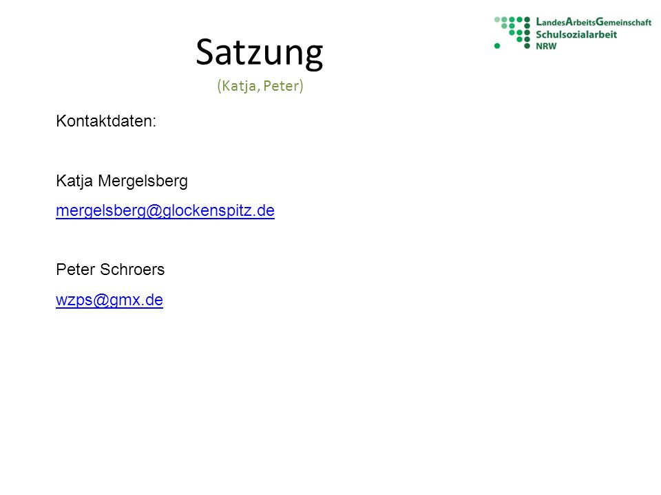 Satzung (Katja, Peter) Kontaktdaten: Katja Mergelsberg