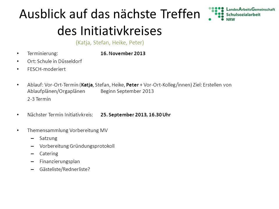 Ausblick auf das nächste Treffen des Initiativkreises (Katja, Stefan, Heike, Peter)